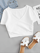 Folds Plain White Cotton Short Sleeve T-Shirts