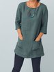 Pockets Buttoned Casual 3/4 Sleeve Cotton-Blend Blouses