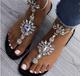 Vintage Boho Crystal Flip-flops Flat Buckle Strap Women Sandals