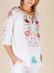 Floral V Neck Boho Shirts & Tops