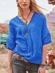 Cotton-Blend Floral-Print Short Sleeve V Neck Shirts & Tops