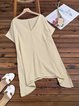 Plus Size Linen V Neck Pure Color Batwing 2019 New Lady's Tunic T-Shirts