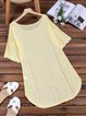 Women Daily Crew Neck Short Sleeve Shift Solid Summer Casual Dress
