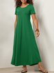 Casual Short Sleeve Round Neck Plus Size Maxi Dress