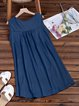 Crew Neck Women Summer Dresses Shift Beach Casual Buttoned Dresses