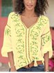Green Chiffon Boho V Neck Half Sleeve Shirts & Tops