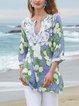 Green V Neck Chiffon Printed Half Sleeve Shirts & Tops