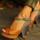 Women Open Toe Artificial Leather Summer Sandals