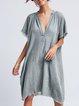 Women's  Casual V Neck  Solid Short Sleeve Shirt & Dresses