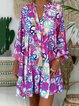 Printed Buttoned Abstract V Neck Shift Daytime Cotton Casual Dresses