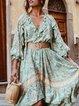 Lightgreen Flounce Boho Dresses