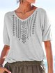 Boho Printed V Neck Plus Size Shirts
