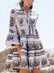 Black V Neck Printed Cotton-Blend Holiday Dresses