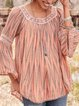 Orange Boho Striped Color-Block U-Neck Shirts & Tops