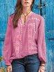 Blue Cotton-Blend Boho V Neck Shirts & Tops