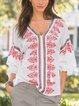V Neck Printed Half Sleeve Boho Shirts & Tops