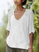 Casual Solid Short Sleeve V Neck Shirts & Tops