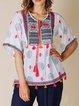 V Neck Floral-Print Floral Vintage Shirts & Tops