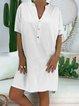 Casual Short Sleeve V Neck Plus Size Dress