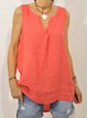Plus Size Casual Sleeveless V Neck Solid Tops