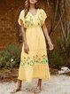 Boho V Neck Floral-Print Short Sleeve Dresses