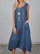Women Summer Sleeveless Midi Dresses Crew Neck  A-Line Daily Cotton Plain Dresses