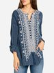 Rolled up sleeve cotton blouse  embroidered top