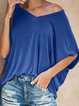 Cotton-Blend Casual Short Sleeve Shirts & Tops