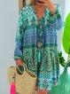 Paneled Printed Floral Tribal Printed Boho Cotton-Blend V Neck Shift Daily  Dresses