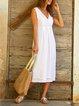 Sleeveless V Neck Holiday Midi Dresses