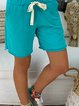 Women's Elastic Waist Plain Cotton-Blend Casual Women Shorts