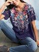 Plus Size Floral Casual Women Summer Blouses