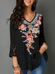 Women Floral Blouses V Neck Casual 3/4 Sleeve tops