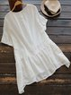 Elegant Solid Cotton-Blend Shirts & Tops
