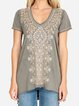 cotton Embroidered  V-neck T-shirt
