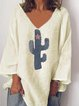 Cotton-Blend Casual Long Sleeve Shirts & Tops
