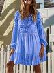 Apricot Long Sleeve Big Hem Dress Patchwork Dresses