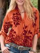 Orange V Neck Long Sleeve Patchwork Shirts & Tops