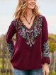 women Floral-Embroidered Casual Blouses