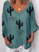 3/4 Sleeve V Neck Casual Shirts & Tops
