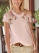 Casual V Neck Comfortable Embroidery Floral Shirts