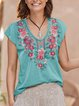 Casual V Neck Comfort Embroidered Shirts