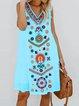 Women Casual Printed Tops Tunic Dress
