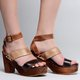 Vintage Clogs For Women Peep Toe Color Block Ankle Strap Sandals