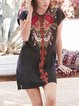 Black Round Neck Short Sleeve A-Line Cotton-Blend Dresses