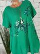 Plus Size Floral Print Women Summer Mini Dresses