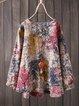 Women Causal Floral Print Linen Long Sleeve Casual Tops