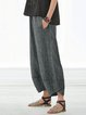 Pockets Striped Linen Shift Casual Pants
