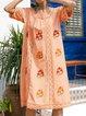 Square Neck Women Summer Dresses Shift Cotton-Blend Floral-Embroidered Dresses
