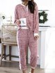 Women Sets Striped Long Sleeve Paneled Comfort Casual Suits